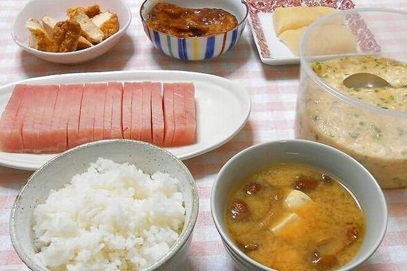とろろ汁とナメコの味噌汁の夕食