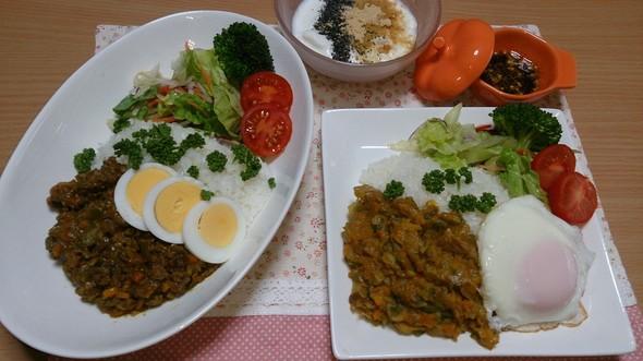 夕食  2種類のドライカレー