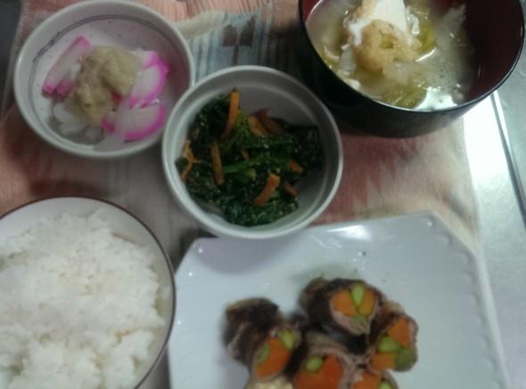 2月16日◆牛薄切り巻き焼き定食