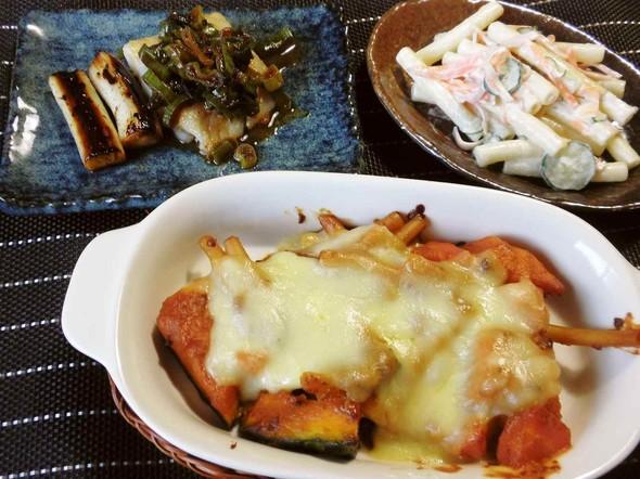 マカロニ、白身魚、かぼちゃ、ひき肉で