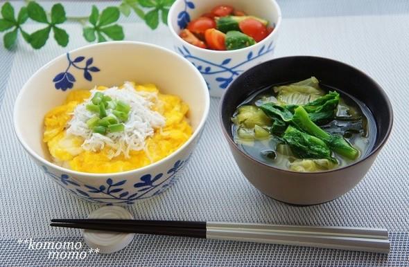 卵しらす丼と春野菜の味噌汁の朝食