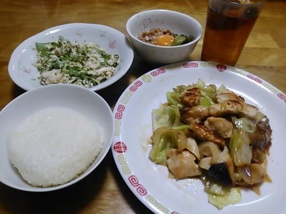 ちゃんちゃん焼き中心の夕食_150409