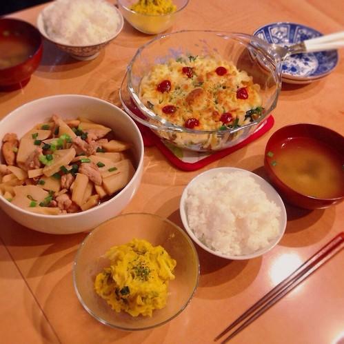 グラタン、煮物、サラダ