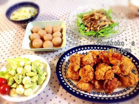・唐揚げ、アボカドモッツァレラ、サラダ・