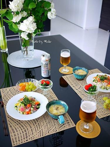 海鮮丼&茶碗蒸し風とろみ汁でランチ♪