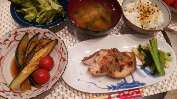 ぶり塩焼き×小松菜×夏野菜の揚げ浸し