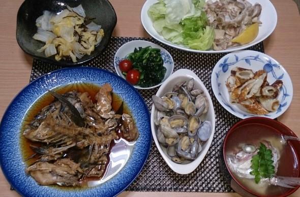 夕食  鶏もも肉のレモン蒸し&鯛のあら煮