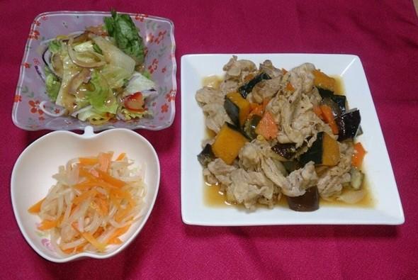 夕食 豚肉と夏野菜の粒マスタードソース