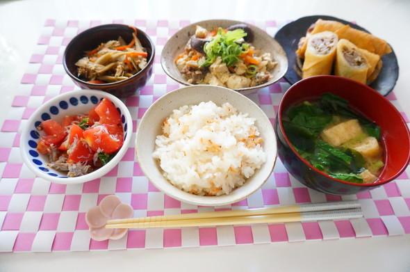 桜海老の炊き込みご飯×春巻き×炒り豆腐