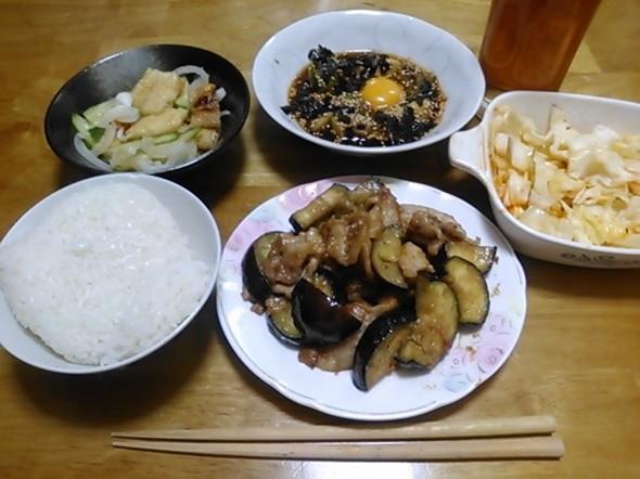 豚なすみそ炒め中心の夕食_150605