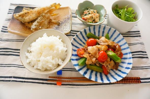 カリカリ豚肉と野菜のポン酢炒め×ハタハタ