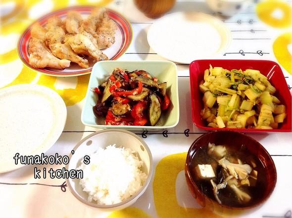 ・手羽元レモンハーブ焼き、茄子、セロリ・