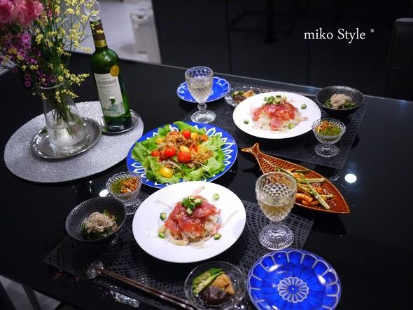 まぐろ漬け寿司&スタミナ生姜焼きの献立