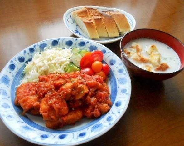 ☆鶏胸肉のトマト煮の晩ごはん☆