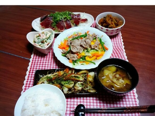 ノンオイルの温野菜でヘルシーな夕食^^